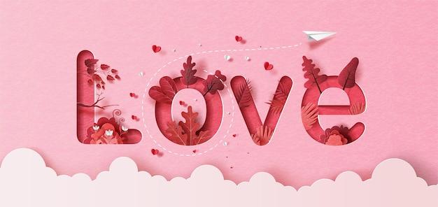 Aereo di carta con palloncino cuore che galleggia nel cielo, testo di amore nell'illustrazione di carta, carta.