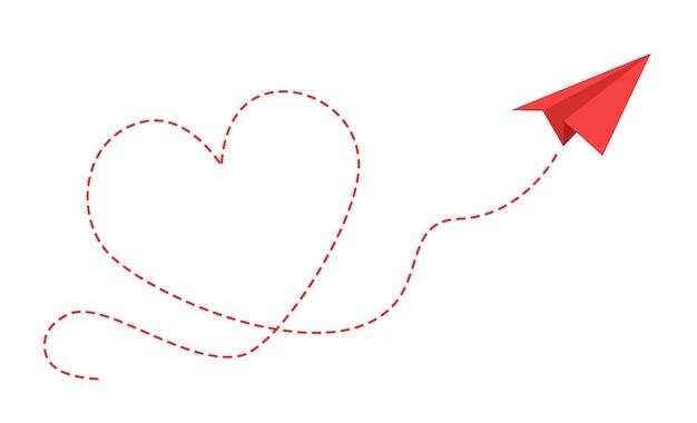 Aereo di carta con percorso del cuore. aeroplano rosso origami volante con traccia tratteggiata di contorno nel design della scheda di forma d'amore, concetto isolato vettore di viaggio o messaggio romantico