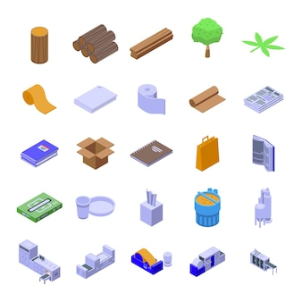 Set di icone di produzione di carta. set isometrico di icone di produzione di carta per web design isolato su sfondo bianco