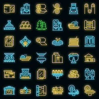 Icone di produzione di carta impostate vettore neon