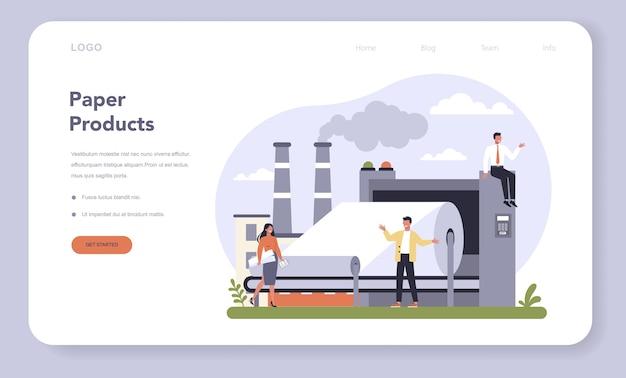 Banner web o pagina di destinazione per la produzione di carta e l'industria del legno