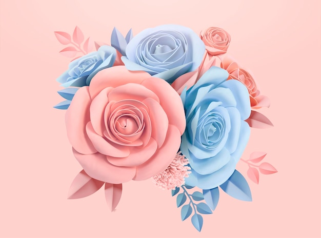 Rose di carta in azzurro e rosa, illustrazione 3d