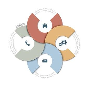 Modello di carta design tondo per infografica o design grafico per affari