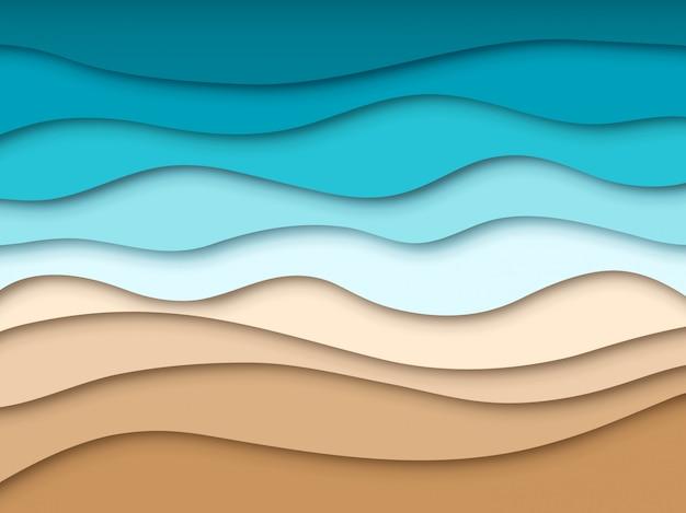 Spiaggia del mare di carta. paesaggio astratto di viaggio di estate dell'oceano, struttura del taglio della carta di estate 3d. carta da parati di vettore della riva sabbiosa del ritaglio di origami