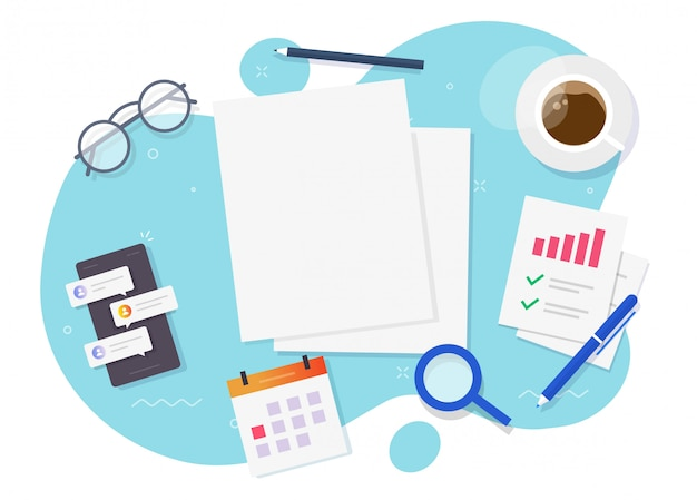 Documenti di analisi di ricerca del foglio di carta vuoto vuoto per il testo dello spazio della copia sul posto di lavoro piatto laico di vettore del tavolo di lavoro