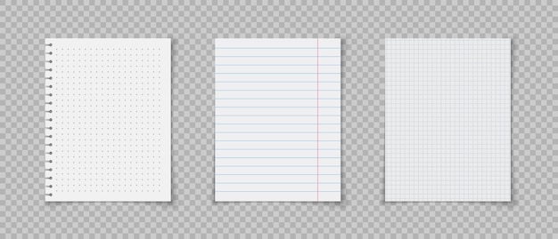 Fogli di carta con righe e quadrati per appunti quaderno o pagina di libro fogli di carta a righe realistici