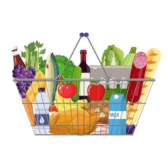 Borsa della spesa di carta piena di prodotti alimentari.