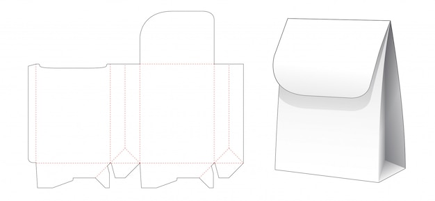Shopping bag di carta con disegno modello fustellato superiore flip