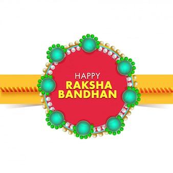 Testo di carta stile felice raksha bandhan su rakhi perla rossa e verde.