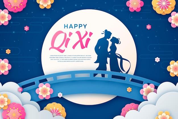 Illustrazione di carta stile qi xi giorno