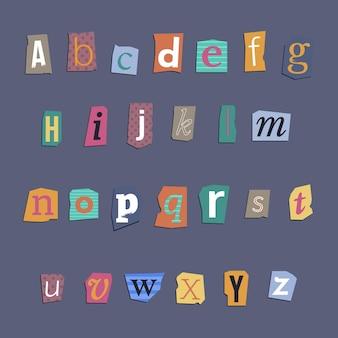 Set di lettere di riscatto in stile carta