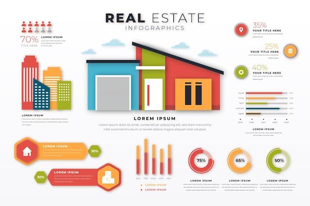Modello di infografica immobiliare in stile carta