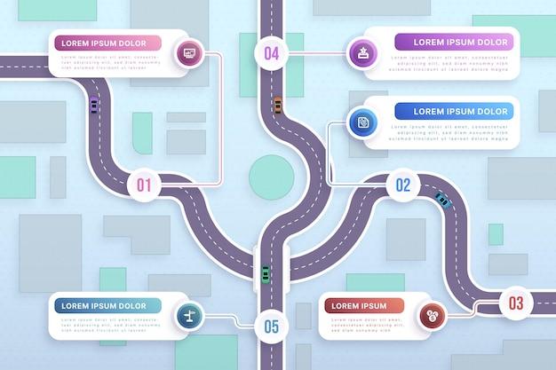 Modello di infografica roadmap in stile cartaceo