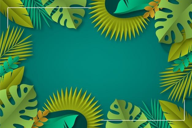 Fondo tropicale delle foglie di stile di carta