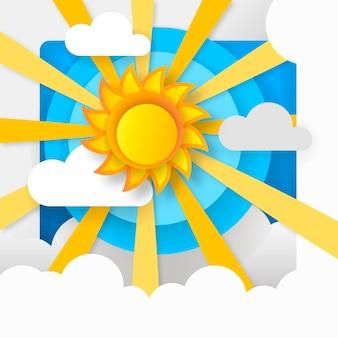 Sole di carta nel cielo blu e nuvole bianche illustrazione vettoriale