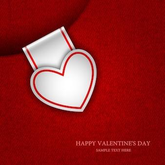 Scheda carta sotto forma di cuore, san valentino, sfondo