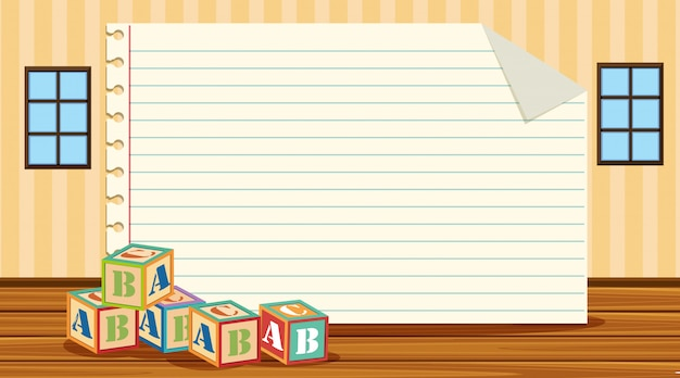 Modello di carta con blocchi alfabeto