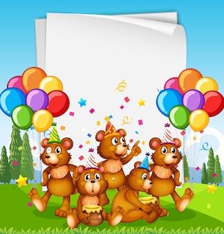 Modello di carta con simpatici animali in tema di festa