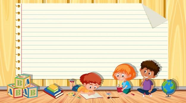 Modello di carta con un libro di lettura di tre bambini nel fondo