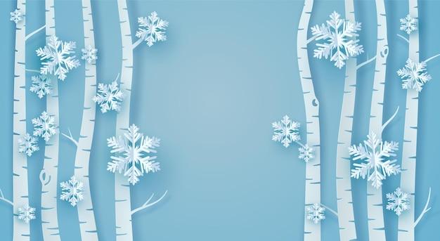 Albero di carta, neve e origami fiocchi di ghiaccio