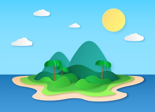 Illustrazione di carta isola tropicale design