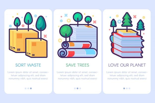 Set di manifesti di riciclaggio dei rifiuti di carta. volantini modello