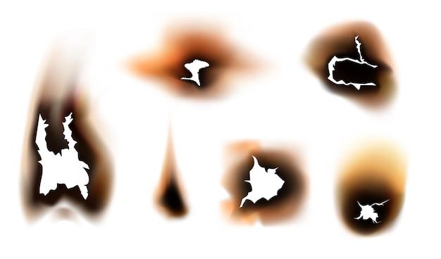 Carta con fori bruciati dal fuoco. impostato. brandelli di carta bruciati bruciati dal fuoco, design realistico isolato.