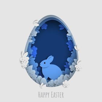 Uova di coniglietto di giorno di pasqua di stile papercut