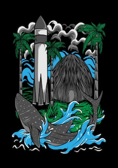 Papua endemica illustrazione arte vettoriale