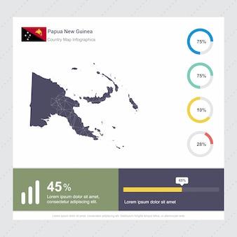 Modello di infografica mappa e bandiera di papua nuova guinea