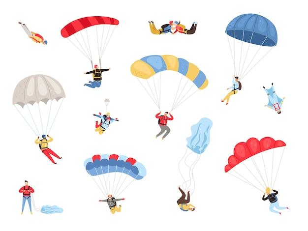 Set di paracadutisti con paracadute