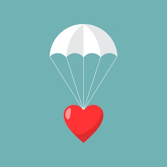 Paracadute con cuore. concetto di invio d'amore.