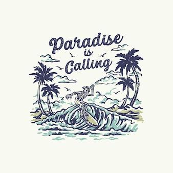 Paradise sta chiamando l'illustrazione vintage del club di surf