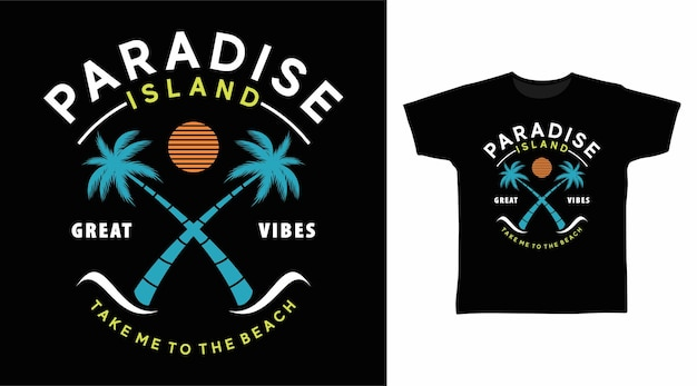 Isola paradisiaca con design della maglietta dell'albero di palme