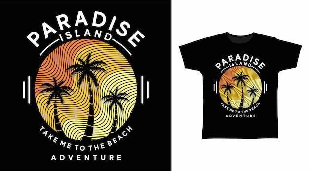 Isola paradisiaca con il design della maglietta al tratto al tramonto