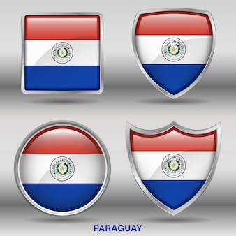 Icona di forme smussate bandiera paraguay