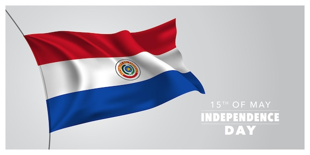 Felice vacanza di indipendenza del paraguay il 15 maggio design con bandiera sventolante