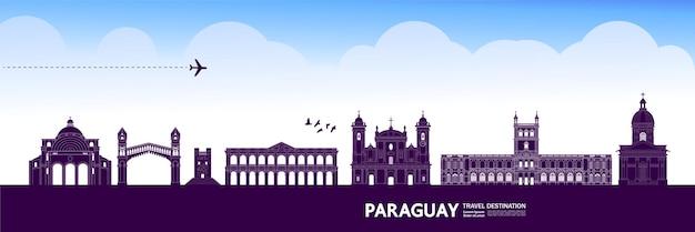 Illustrazione di vettore della destinazione di viaggio del paraguay.