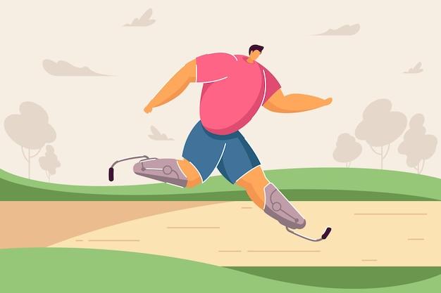 Atleta paralimpico che partecipa alla gara illustrazione vettoriale piatta uomo disabile che corre maratona