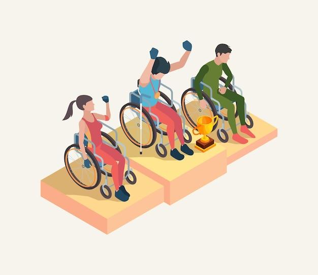 Celebrazione del popolo paralimpico. i vincitori dei giochi olimpici con il premio della coppa sport persone vettore disabili isometrici