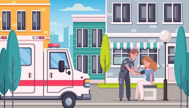 Paramedico e ambulanza aiutando la donna all'aperto illustrazione