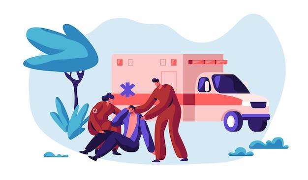 Professione paramedica personaggio medico salvataggio salute in ambulanza. trasporto urgente del lavoratore medico sul veicolo della medicina all'ospedale per l'assistenza sanitaria. illustrazione di vettore del fumetto piatto