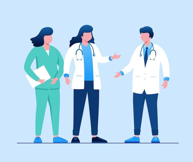 Paramedico team medico e infermiere illustrazione vettoriale piatta per banner e landing page