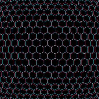 Parametrico anaglif esagonale netto sfondo nero decorazione fondale