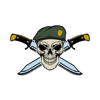 Cranio di paracadutista con coltelli incrociati