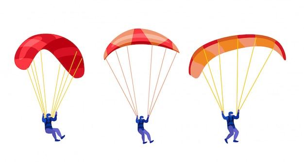 Paracadutisti che scendono con i paracadute impostati. personaggi di parapendio e paracadute su bianco, illustrazione di parapendio e paracadutisti, skydiver hobby e attività sportive
