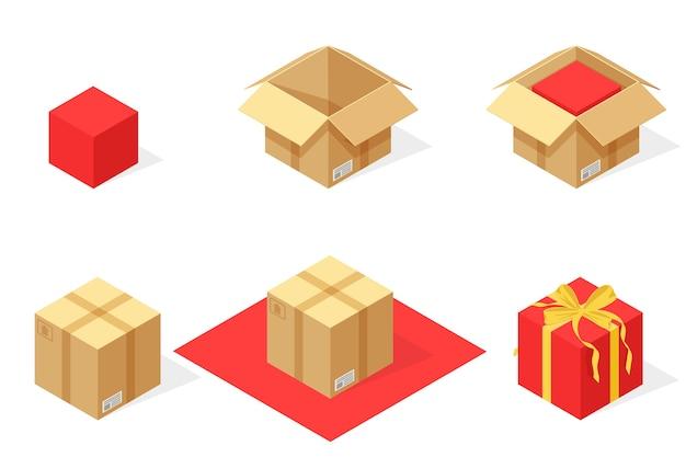 Illustrazione dell'insieme isometrico dell'imballaggio del pacco