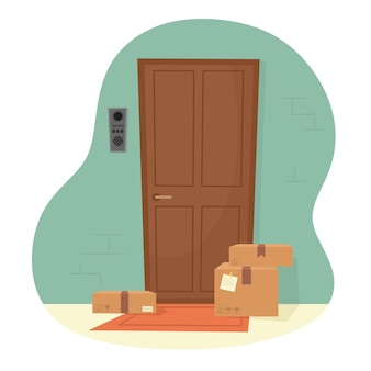 Pacchi alla porta dell'appartamento. consegna dei pacchi a casa tua. illustrazione in uno stile piatto.