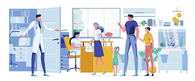 Genitore e figli in visita al dottore di famiglia cartoon