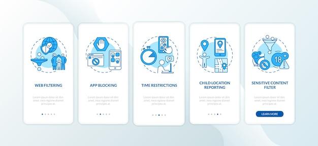 Elementi di monitoraggio parentale che eseguono l'onboarding della schermata della pagina dell'app mobile con concetti